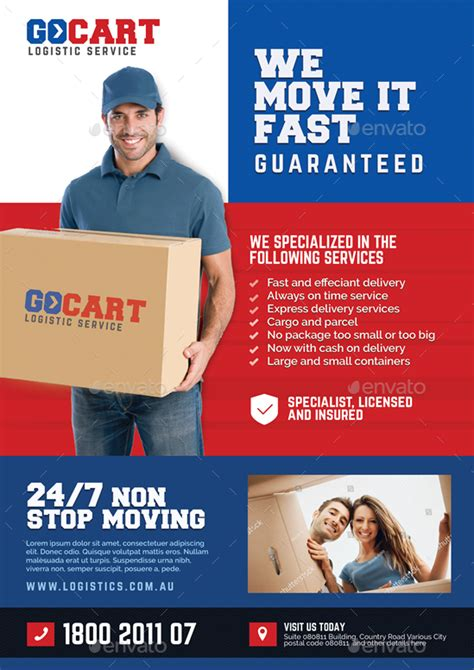 delivery flyer template delivery cargo courier promotional flyer by artchery