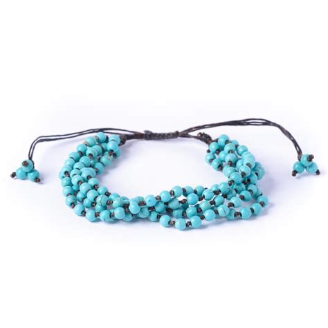 cord and bead bracelet new turquoise bead wax cord adjustable bracelet by