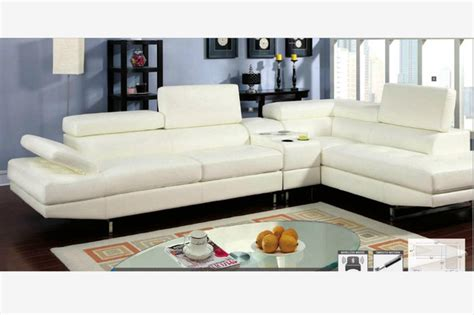 Modern White Leather Sectional Sofa Couch Console Houzz Sectional Sofas