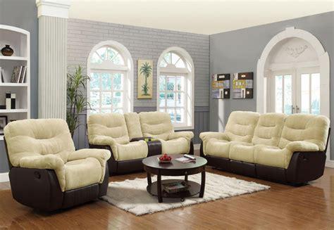 cream living room furniture elaina cream brown motion 3 pc sofa set contemporary