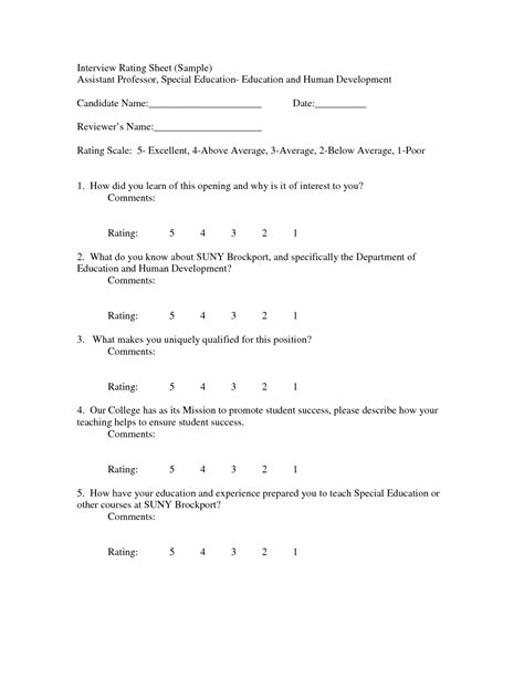 best photos of interview rating template job interview