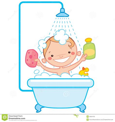 bathtub cartoon happy cartoon baby kid in bath tub royalty free stock photo image 33551975
