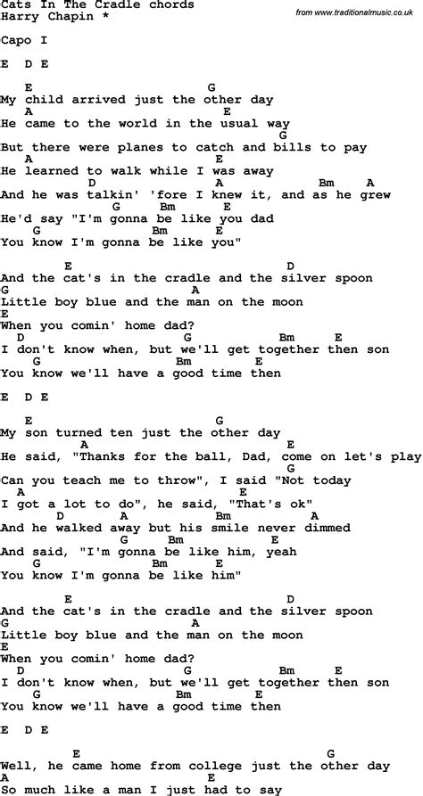 cat song lyrics song lyrics with guitar chords for cats in the cradle