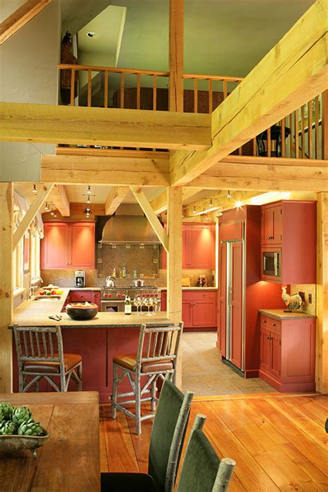 Vermont Country Kitchen in Post and Beam Home   Designs