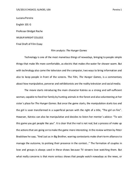 Descriptive Analysis Essay by Analysis The Hunger Wilbur Wright College