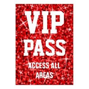Glitz red vip pass business card chubby zazzle
