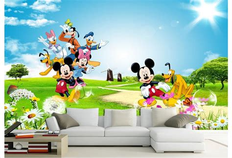 Mickey Mouse Clubhouse Wall Mural popular mickey mouse 3d wallpaper buy cheap mickey mouse