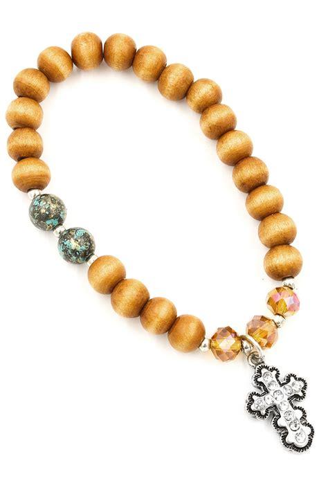 wood bead bracelets wood bead cross charm stretch bracelet bracelets
