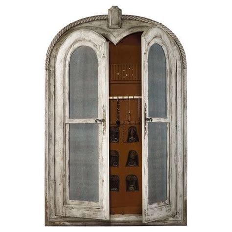distressed wood floor mirror with interior jewelry storage