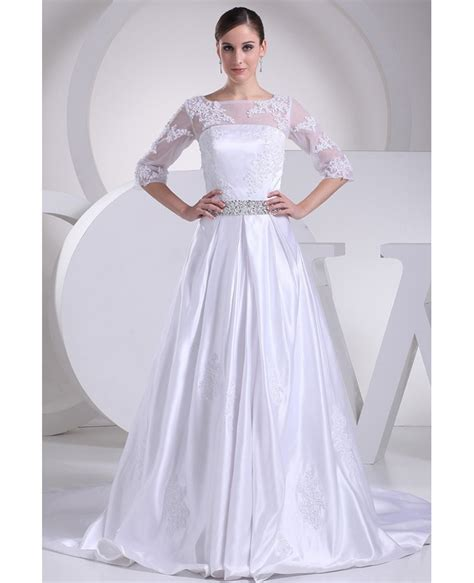 modest lace wedding dresses with sleeves modest lace 3 4 sleeves beaded satin wedding dress custom