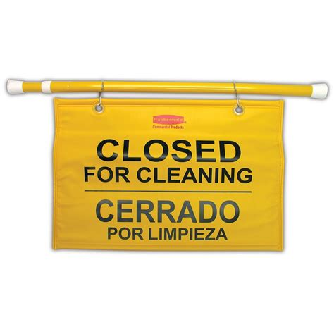 rubbermaid hanging closed  cleaning safety sign