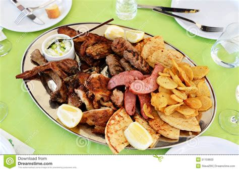 cuisine island traditional food in the restaurant on santorini stock