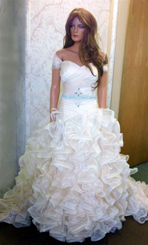 Miniature bride dresses.