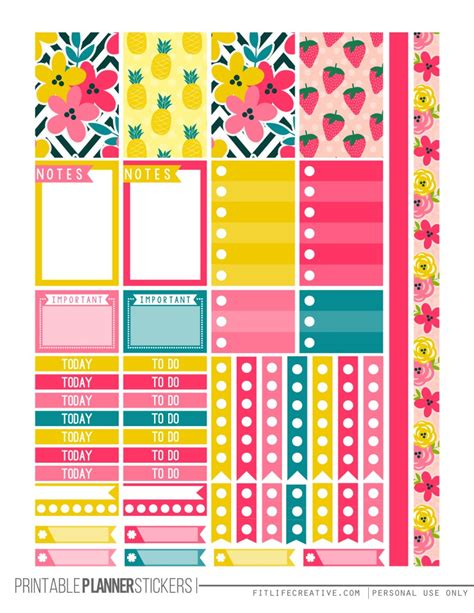 happy planner free printable stickers tropical summer planner stickers fit life creative