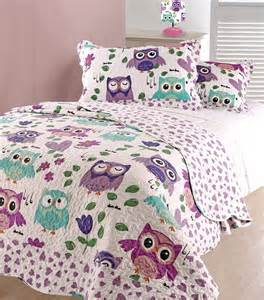 Sofa Back Cushion Covers Single Bed Girls Kids Childrens Hoot Owl Themed Bedspread