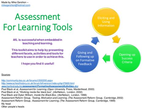 themes educational assessment assessment for learning toolkit by mikegershon teaching