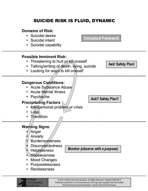 safety plan suicidal ideation template summary of risk
