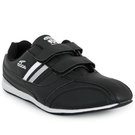 new mens black straps velcro casual trainers flat walking