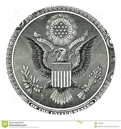Seal Usd E Pluribus Unum Seal On Us One Dollar Bill Royalty Free