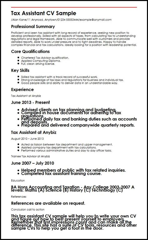 Examples Of Accomplishments For A Resume by Tax Assistant Cv Sample Myperfectcv