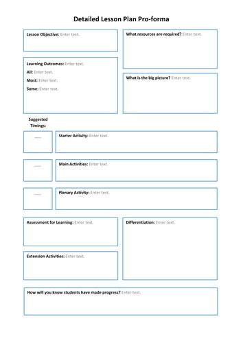 Lesson Plan Pro Formas By Tes Resource Team Teaching Resources Tes Team Lesson Plan Template