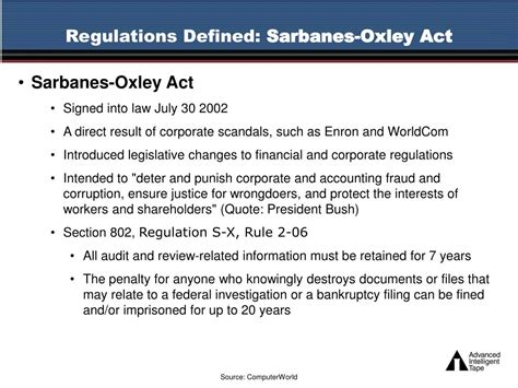 sarbanes oxley act section 802 ppt data integrity and data retention regulations