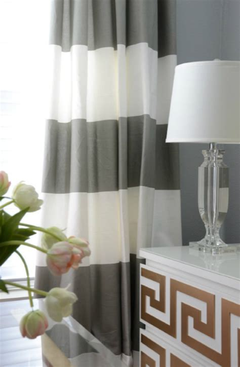 White And Grey Striped Curtains Gray Striped Curtains Transitional Den Library Office Amanda Carol Interiors