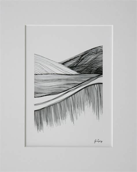 Matting Prints by Matted Print Seatoun Landscape Line Drawing Jo Luping Design
