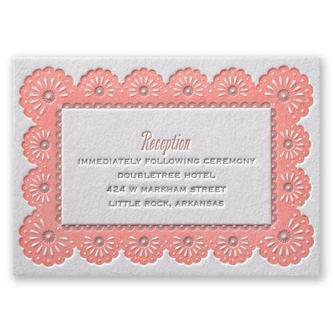 Wedding Reception Borders by Lace Border Letterpress Reception Card Invitations By