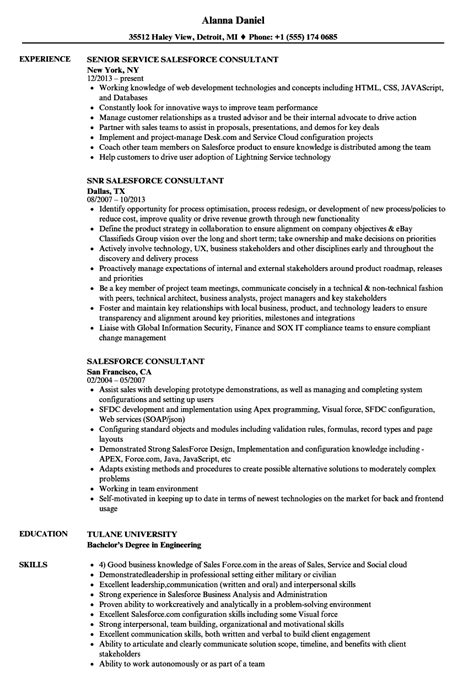 Salesforce Resume by Salesforce Consultant Resume Sles Velvet