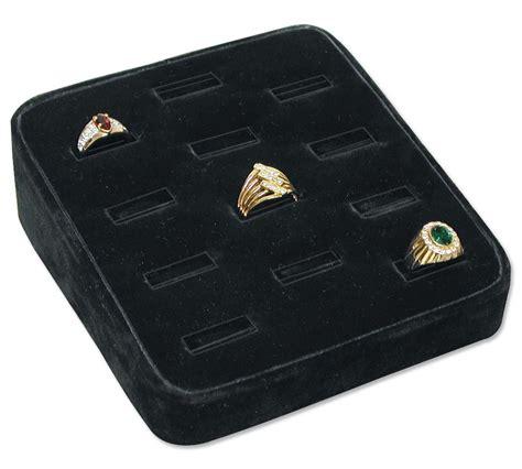 black velvet tappered ring display tray holds 12 rings