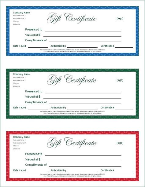 gift card templates for pages best 25 free printable gift certificates ideas on