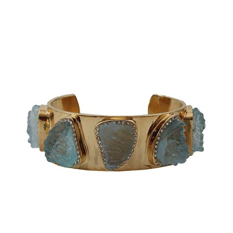 Lust Alert Gold And Cuff By Kara Ross by Kara Ross Aquamarine And Resin Cuff In Green Gold