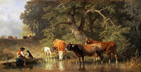 cattle watering   woodland pond johann friedrich
