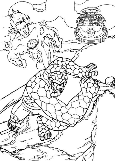 human torch and the thing coloring pages hellokids com