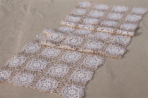 Handmade Lace - vintage handmade lace table runner or dresser scarf white