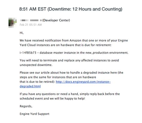 The Meltdown That Brought Our Startup To Its Knees For 15 Hours System Downtime Email Template