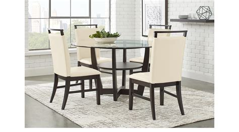 Cappuccino Dining Room Furniture Collection Ciara Espresso Brown 5 Pc Dining Set Glass Top Contemporary