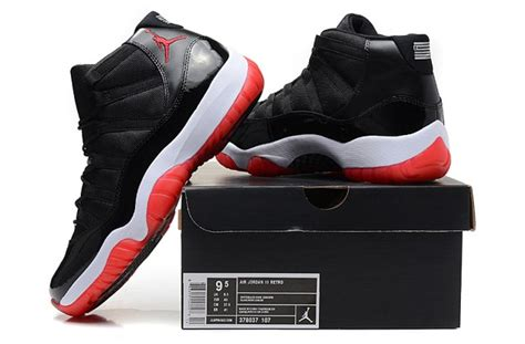 Nike Air 11 Retro High Blackwhitered nike air xi 11 retro black varsity white bred 378037 010 zmshoes