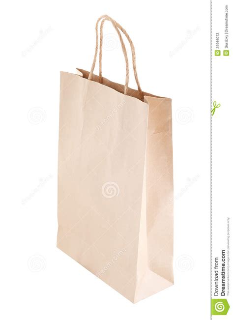 Simple Paper Bag - paper bag on white background stock photos image 29966073