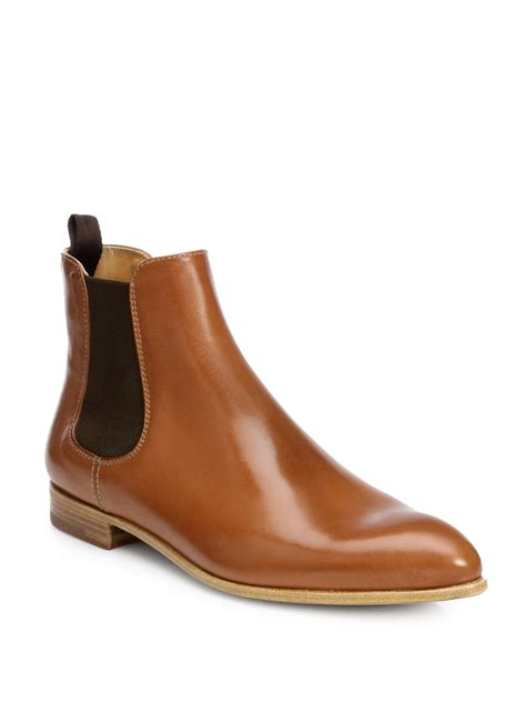 prada boots prada leather ankle boots in brown cuoio lyst