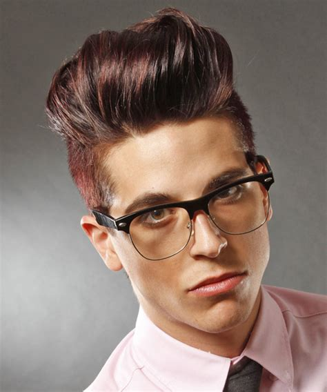 mens hair front flip short straight alternative hairstyle dark red burgundy