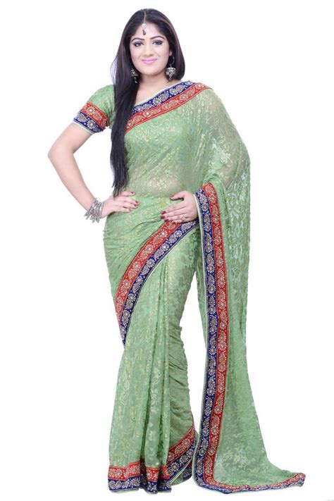 pista green color saree buy pista green embroidered georgette saree with blouse online