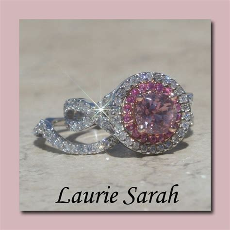 light pink sapphire engagement ring and wedding ring set