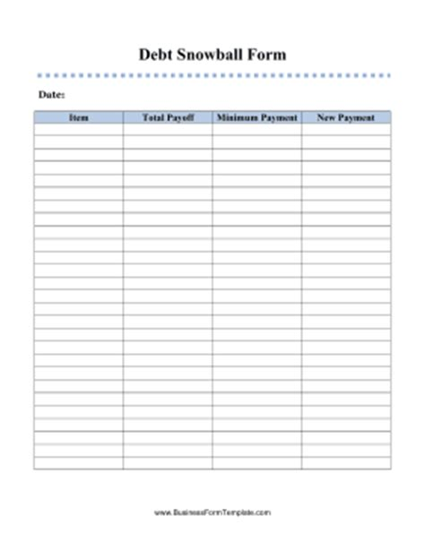 Debt Sheet Template debt snowball form template