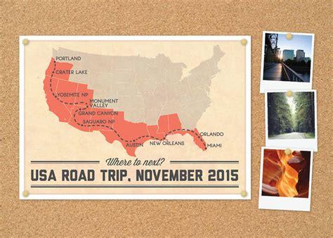 usa road map poster personalised usa road trip map diy printable poster
