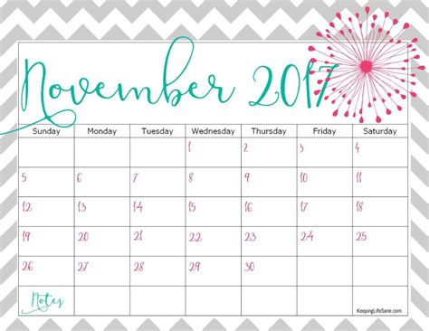 printable calendar 2017 november cute november 2017 calendar cute yearly printable calendar