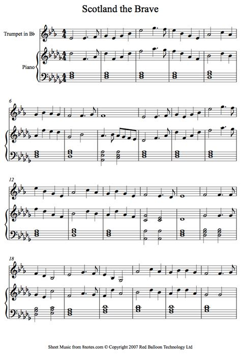 piece of music between sections of a play scotland the brave sheet music for trumpet 8notes com