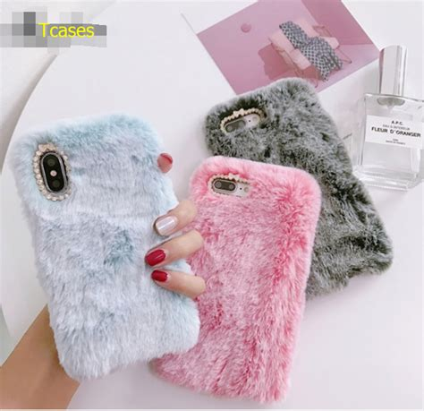 Flower Fur For Iphone 7 Plus Iphone 8 Plus fashion luxury iphone x fur cases for iphone 6 7 8