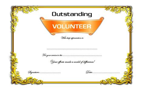Volunteer Of The Year Certificate Template by Outstanding Volunteer Certificate Template 7 Best 10